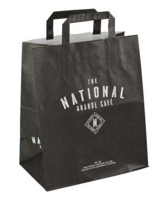 Kraft Shopping Bags With Custom Printing And Flat Handle
